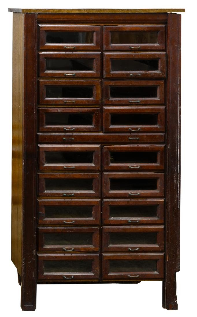 Mahogany Store Cabinet with Glass Front Drawers