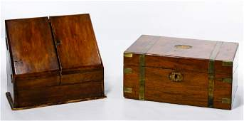 English Victorian Mahogany Travel Desk and Letterbox