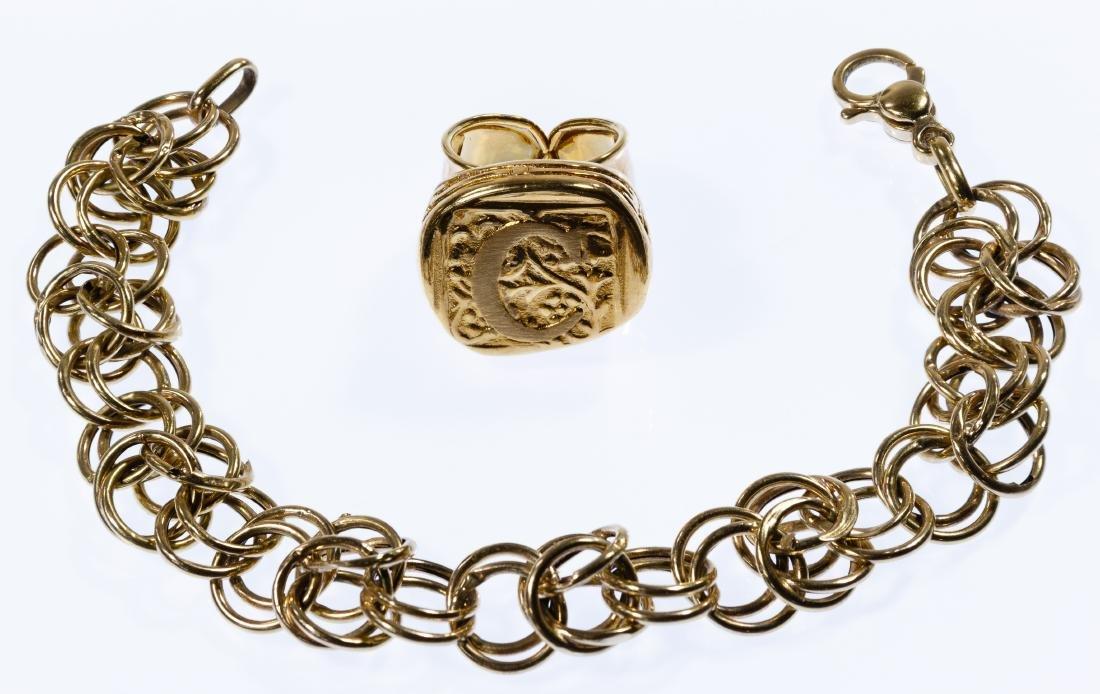 14k Gold Bracelet and Signet Ring
