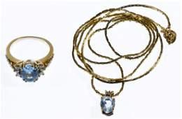 14k Gold, Blue Tourmaline and Diamond Jewelry