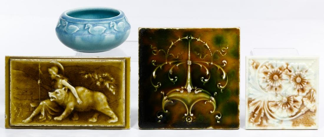 Rookwood Vase and Wall Tile Assortment