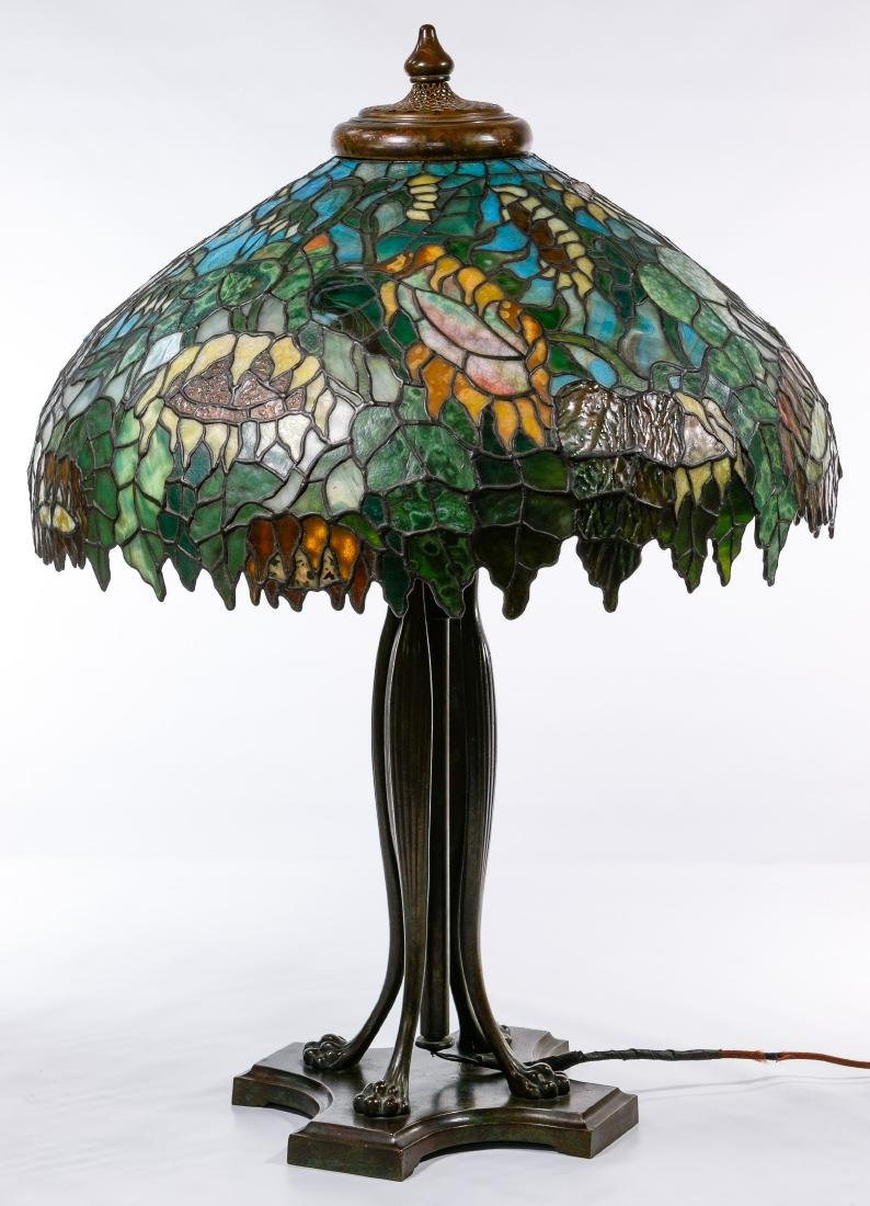 Tiffany Style 'Sunflower' Stained Glass Shade Table - 2