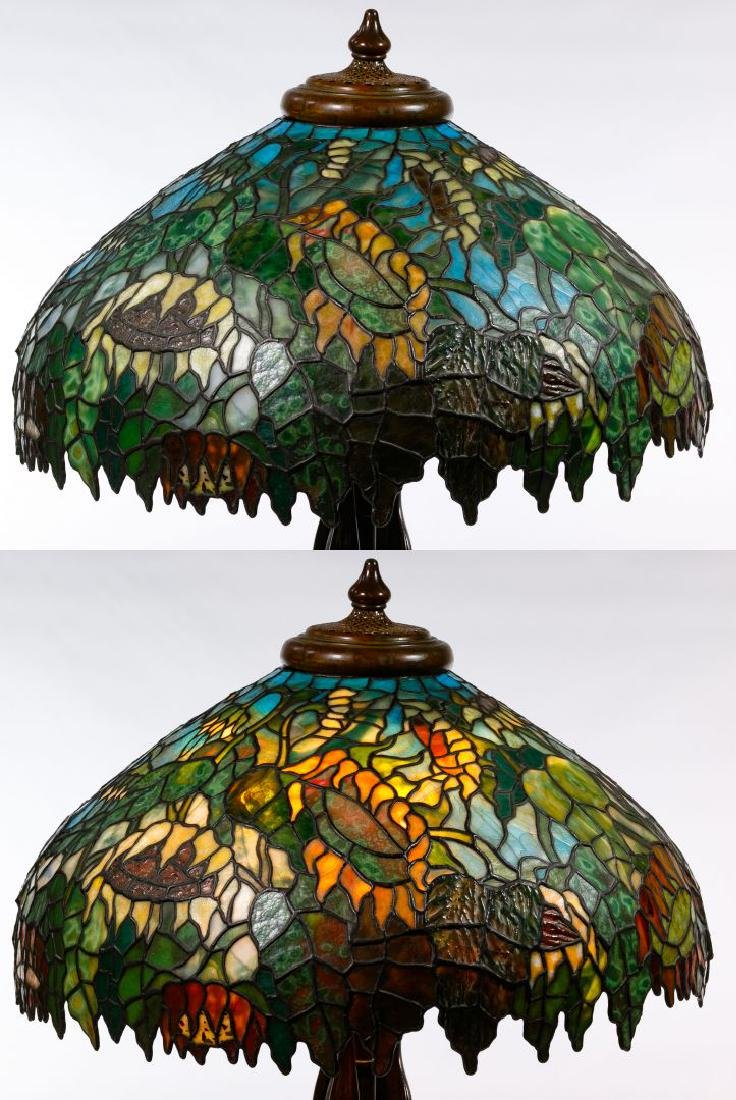 Tiffany Style 'Sunflower' Stained Glass Shade Table - 5
