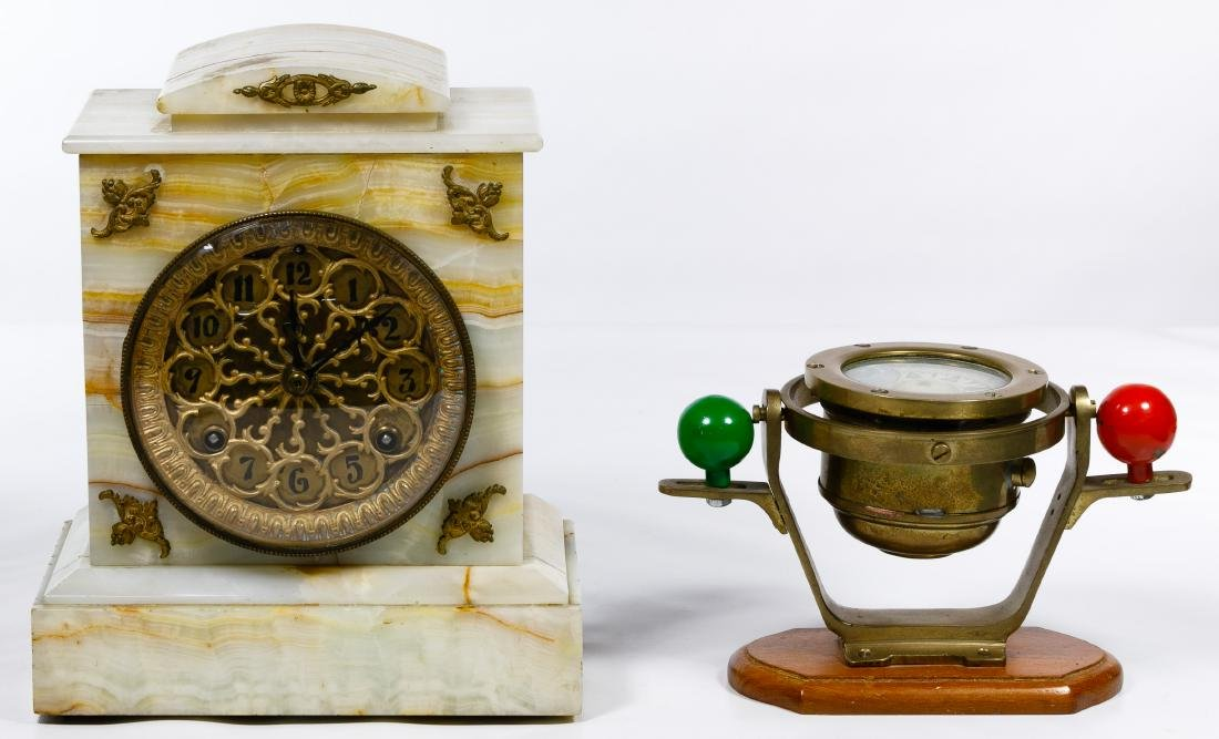 Alabaster Mantel Clock and Bergen Nautik Compass