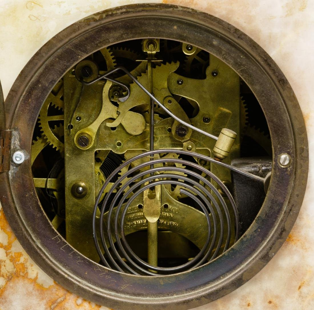 Alabaster Mantel Clock and Bergen Nautik Compass - 3