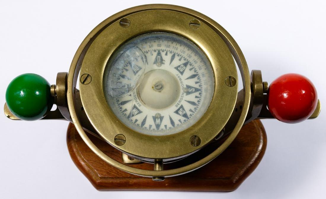 Alabaster Mantel Clock and Bergen Nautik Compass - 4