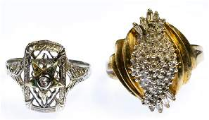 14k White Gold and 10k Yellow Gold and Diamond Rings