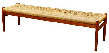 Moller Danish Modern Teakwood and Rope Bench