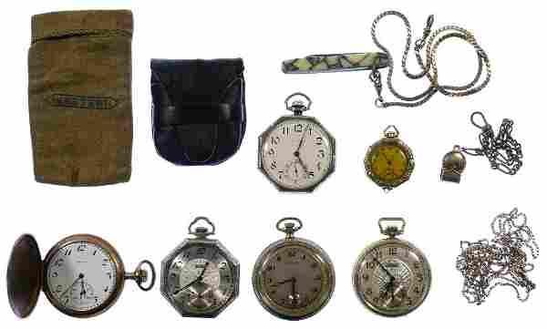 Waltham 14k White Gold Open Face Case Pocket Watch