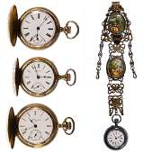 Ladies 14k Gold Filled and Sterling Silver Pocket Watch