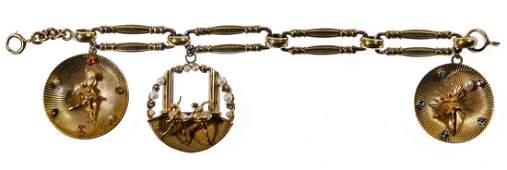 14k Gold Charms on Gold Filled Bracelet