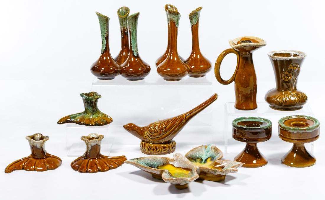 Van Briggle Brown / Green Pottery Assortment - 3