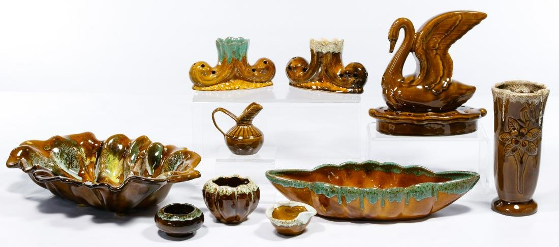 Van Briggle Brown / Green Pottery Assortment - 4