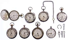 Sterling Silver and Coin Silver Pocket Watch Assortment