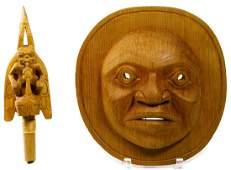 Native American Northwest Coast Mask and Rattle