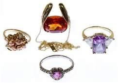 10k Gold and Semi-Precious Gemstone Jewelry Assortment