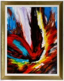 Leonardo Nierman (Mexican, b.1932) 'Ignicion' Oil on