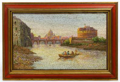 Pietra Dura 'Ponte Sant' Angelo' Micro-Mosaic Plaque