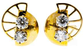 14k Gold and Diamond Pierced Earrings