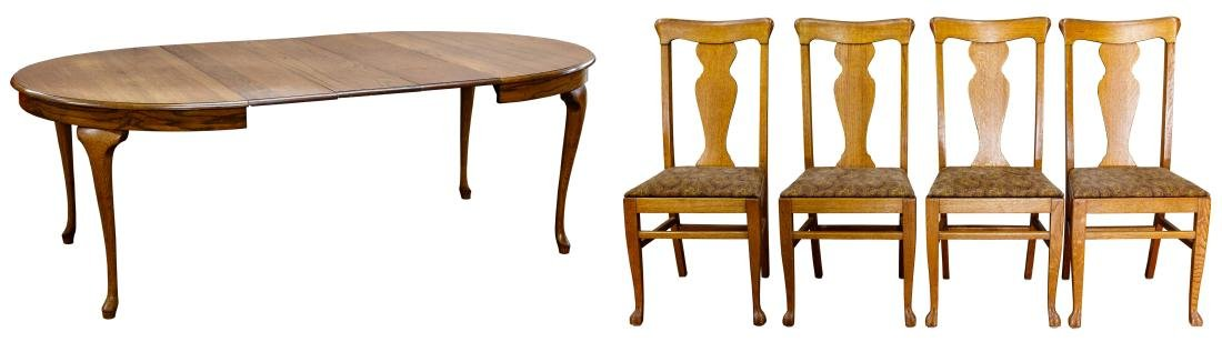 Oak Oval Dining Table and Chair Assortment