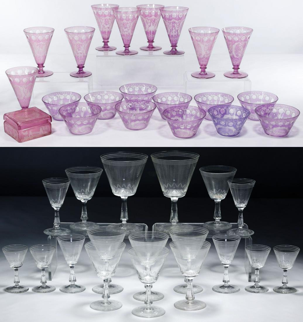 Amethyst Cut to Clear Glassware Collection
