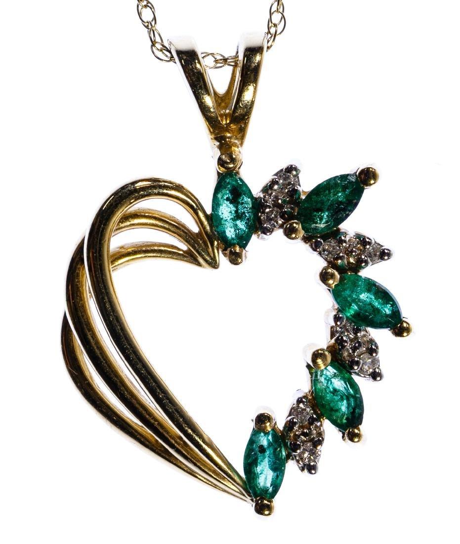 14k Gold, Emerald and Diamond Heart Shaped Pendant