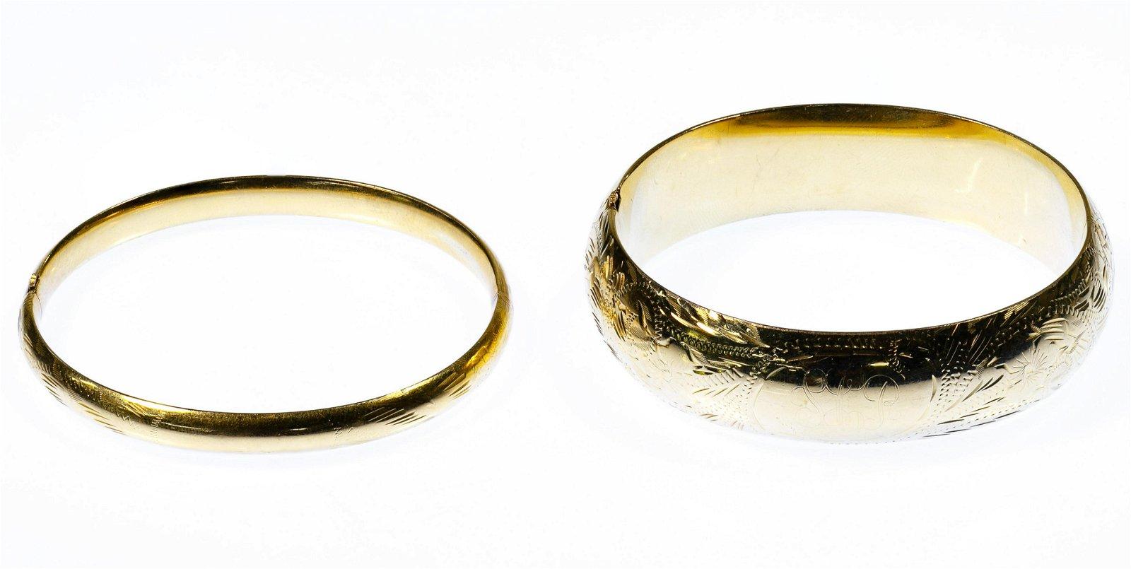 14k Gold Hinged Bangle Bracelets