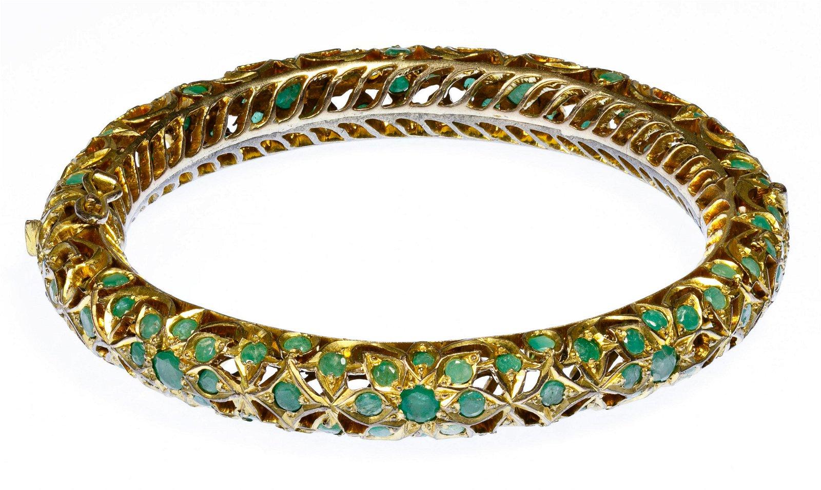 Indian Emerald and Brass Hinged Bangle Bracelet