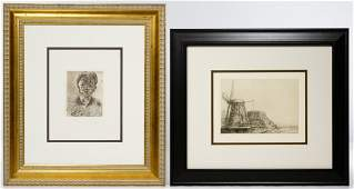 (After) Paul Cezanne and (After) Rembrandt Etchings