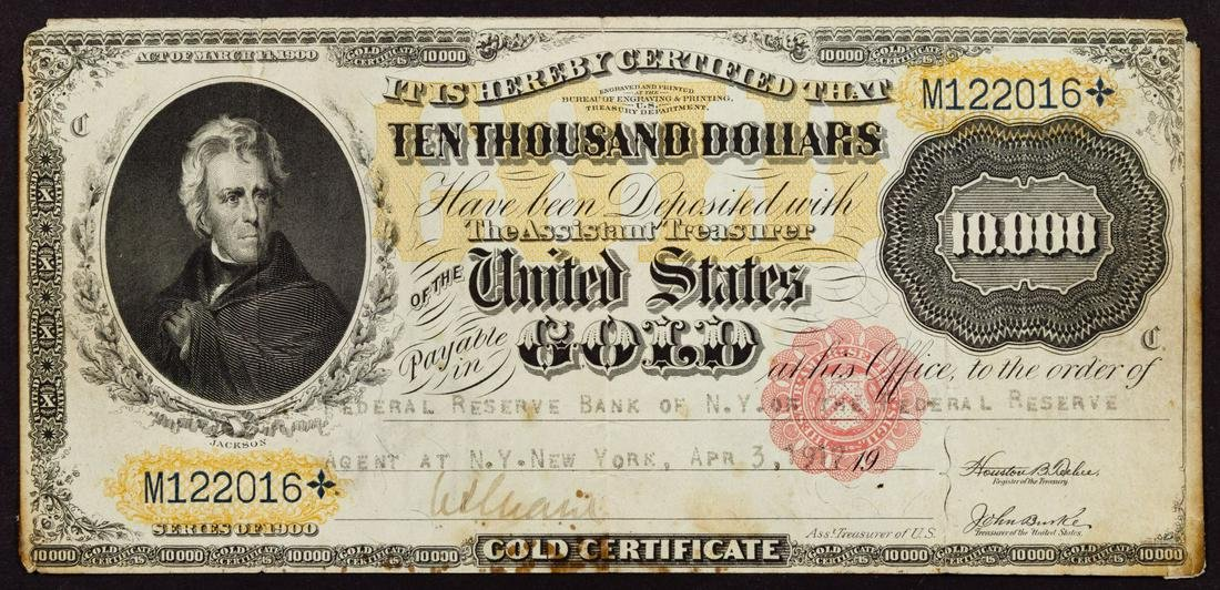 1900 $10,000 Gold Certificate Federal Reserve Note VF