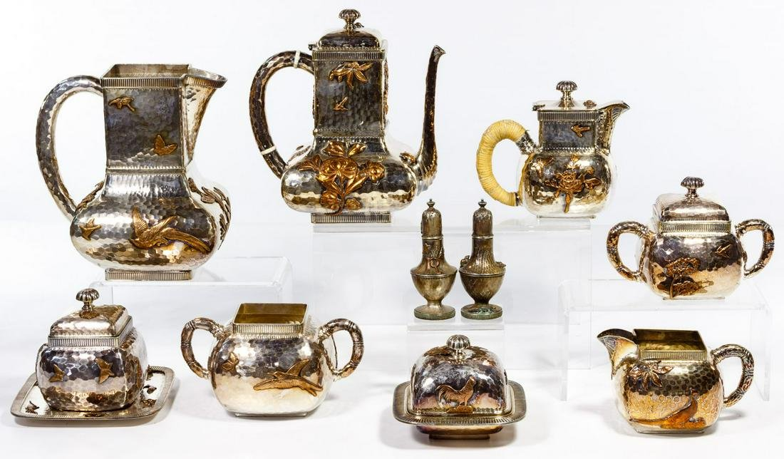 Gorham Silver and Copper Mixed Metal Tea Service