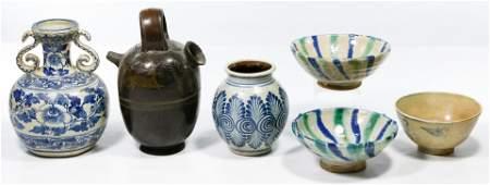 Asian Stoneware Pottery Assortment