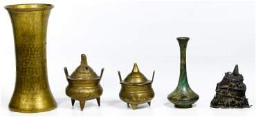 Peruvian Silver and Asian Brass Assortment
