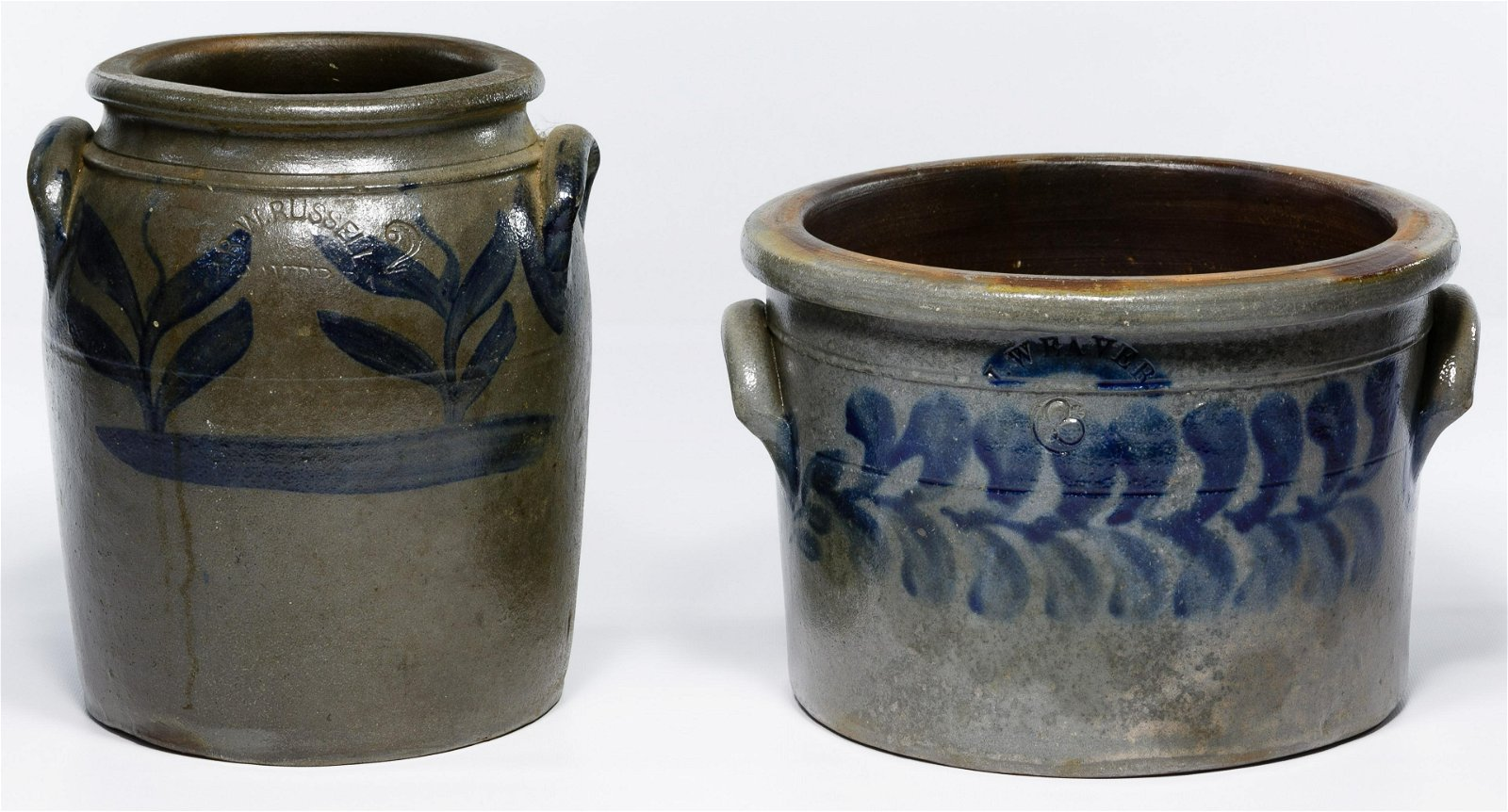 R.W. Russell and Weaver Stoneware Crocks