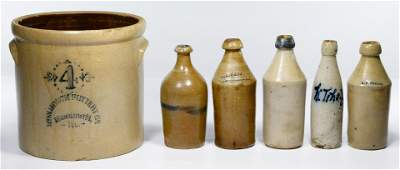 Stoneware Crock and Bottle Assortment