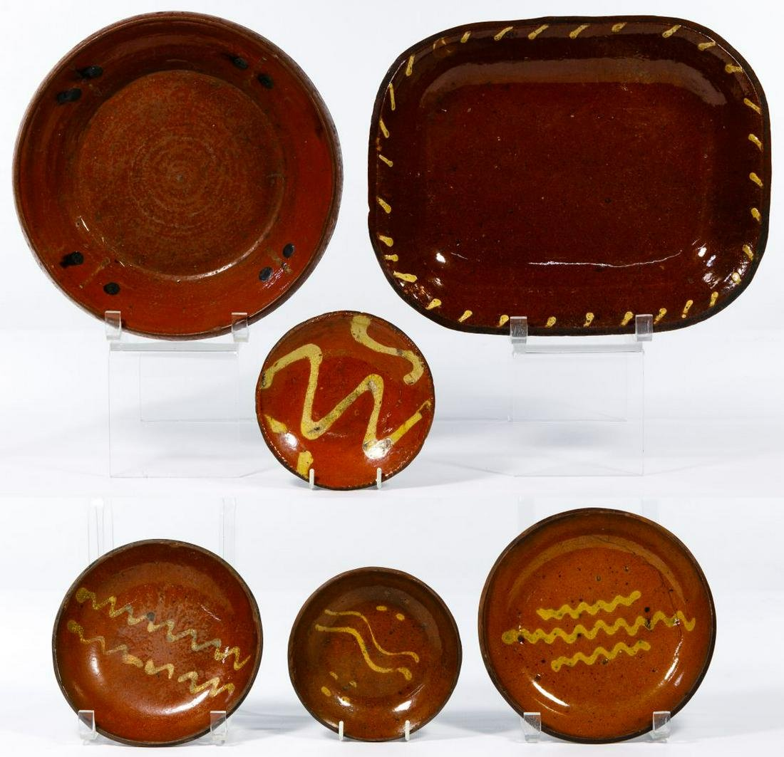 Redware Slip Decorated Bowl Assortment