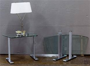 Contemporary Glass Coffee Tables with Lamp