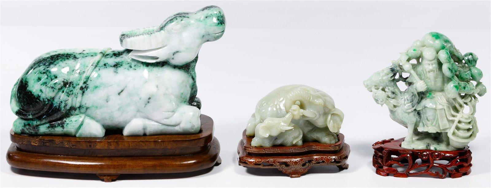 Asian Jadeite Jade Carved Statue Assortment