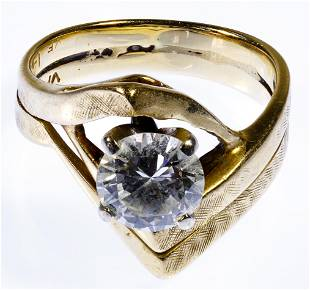 14k Gold and Diamond Double Band Ring