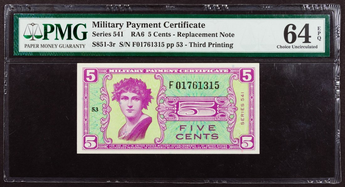 Military Payment Certificate Series 541 5c Replacement