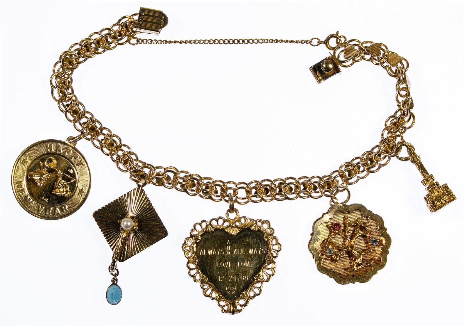14k Gold Charms on a Gold Filled Bracelet
