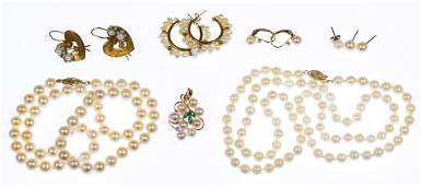14k and 10k Gold and Pearl Jewelry Assortment