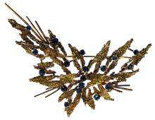 10k Gold and Sapphire Brooch