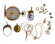 14k Gold Jewelry and Pocket Watch Assortment