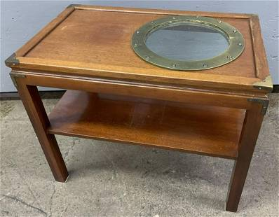 Walnut Stained Fruitwood and Porthole Side Table