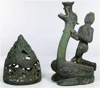 Chinese Han Style Bronze Lamp