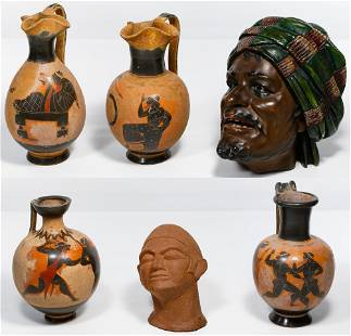 Redware Pottery Head and Pitcher Assortment