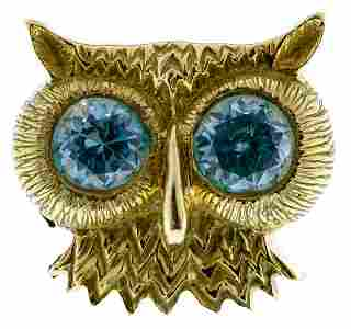 Ron Ray 18k Gold and Blue Topaz Owl Ring