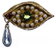 14k Gold and Semi-Precious Gemstone Pendant