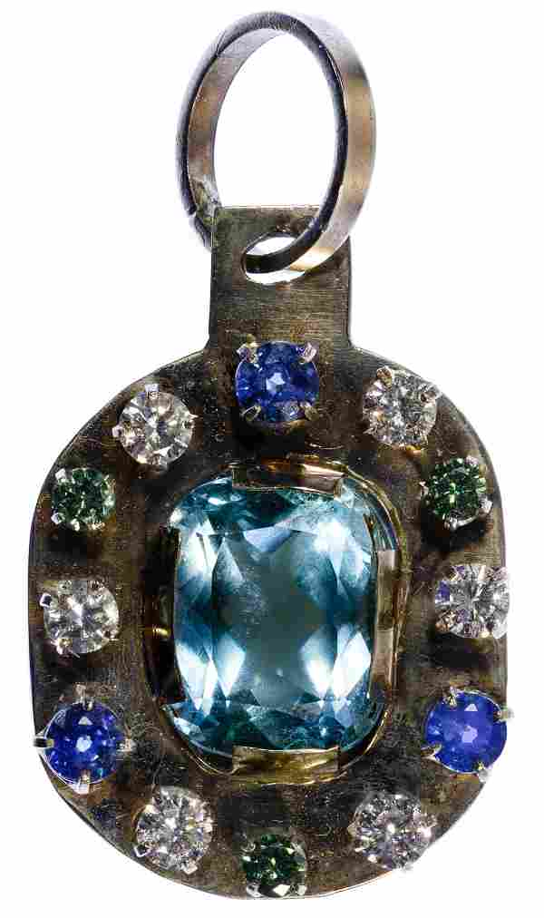 14k White Gold and Semi-Precious Gemstone Pendant